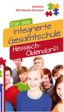 Titelbild Faltblatt zur IGS-Befragung in Hessisch Oldendorf